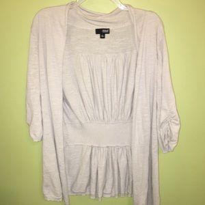 Light Gray 3/4 Sleeve Cardigan